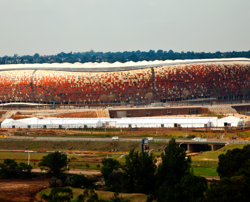 Coloring of the soccer stadium – Iron oxide pigments from LANXESS such as Bayferrox can color the outer shell of the soccer stadium.