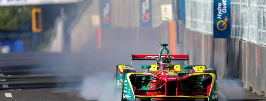 Formula E features full electric-powered cars and uses city streets for the race course. Concrete barriers are used to block off the course and separate the crowds from the raceway. Photo: fotosports.ca