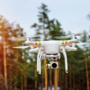 drone flying on a background of forest trees