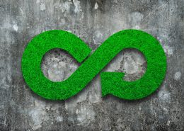 Green Eco-friendly and circular economy concept. Infinity arrow recycling symbol with green grass texture on dirty concrete wall background.